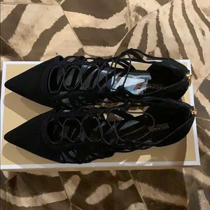 Michael Kors black pointy suede flats W's 11. Auth